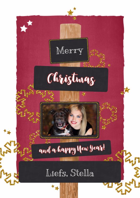 Kerstkaarten - Kerst stijlvolle hippe fotokaart rood krijtbord