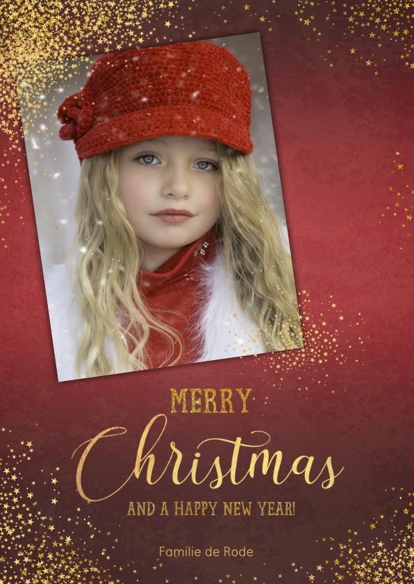 Kerstkaarten - Kerst stijlvolle rode fotokaart sierlijke tekst sterren goud