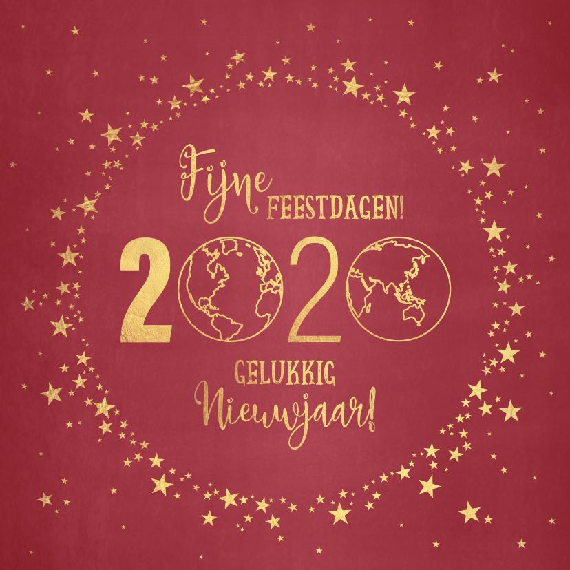 Kerstkaarten - Kerst stijlvolle rode kaart met goudkleurige wereldbol