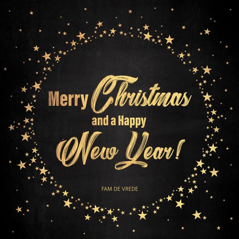 Kerstkaarten - Kerst stijlvolle zwarte kaart goudkleurige tekst en sterren