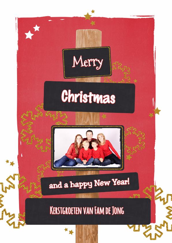 Kerstkaarten - Kerst stoer rood glitter foto