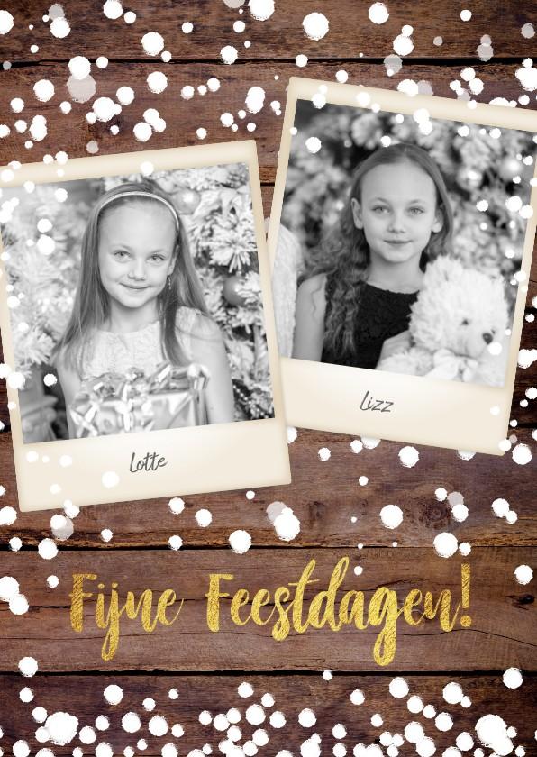 Kerstkaarten - Kerst stoere fotokaart houtprint en vele sneeuwvlokken