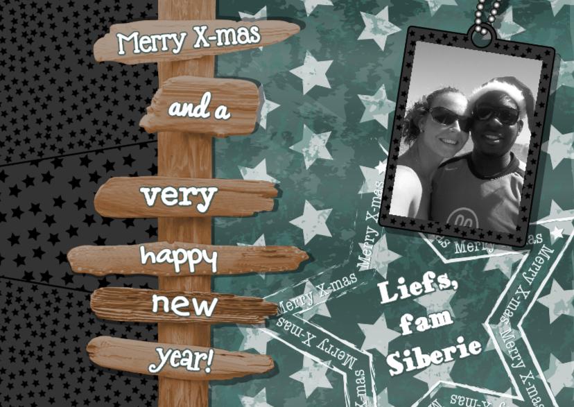 Kerstkaarten - Kerst stoere fotokaart ster paal