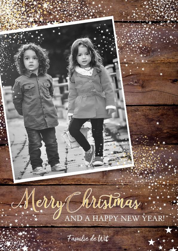 Kerstkaarten - Kerst stoere stijlvolle foto kaart hout en witte sterretjes