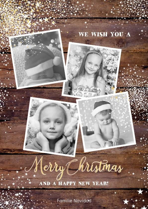 Kerstkaarten - Kerst stoere stijlvolle kaart hout met sterren en 4 foto's