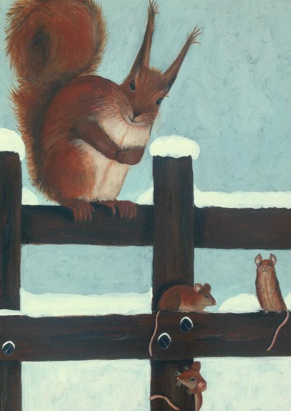 Kerstkaarten - Kerst tafereel met eekhoorn