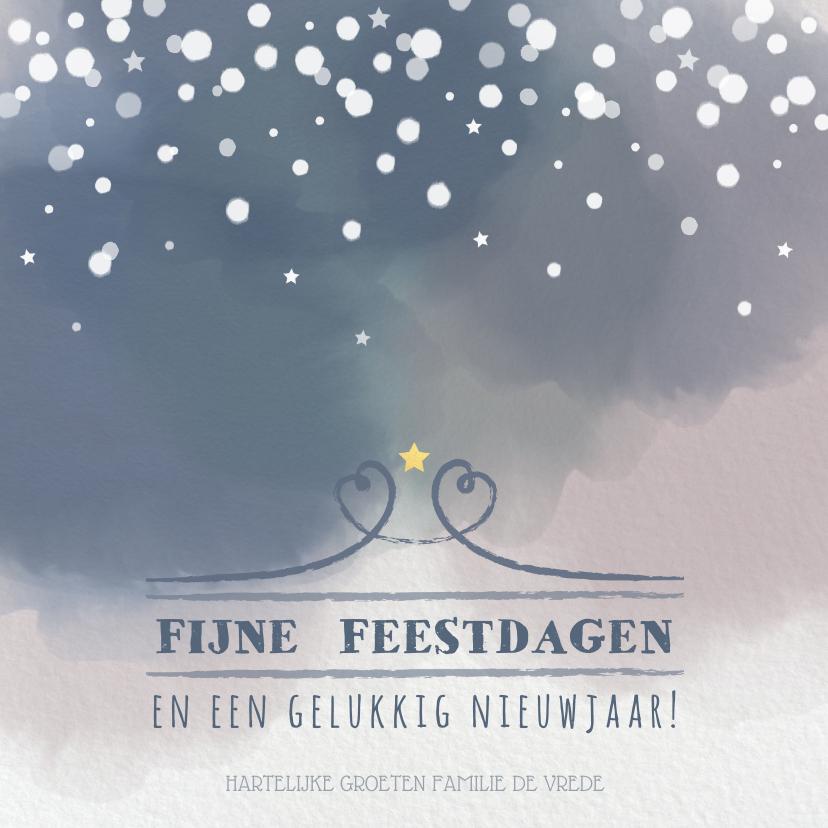 Kerstkaarten - Kerst trendy kaart met aquarel print en sneeuwvlokken