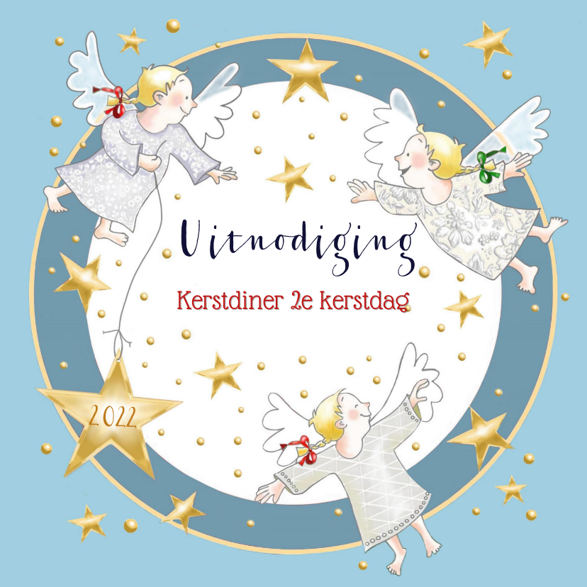 Kerstkaarten - Kerst - uitnodiging kerstdiner blauw