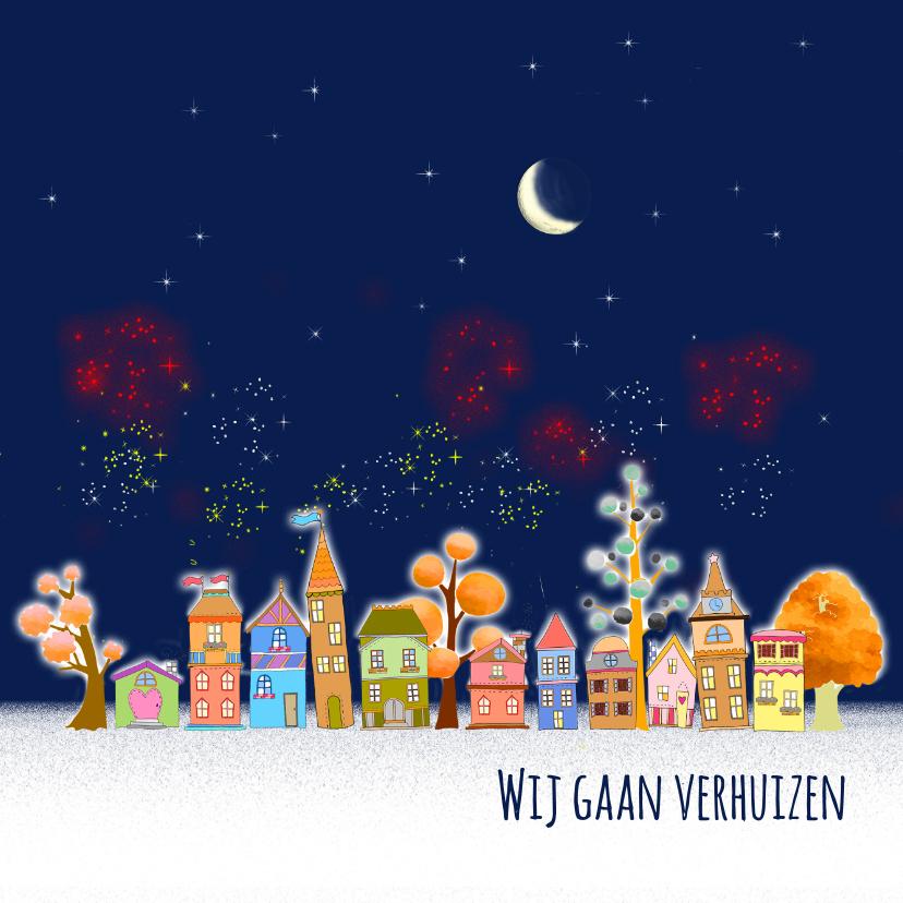 Kerstkaarten - Kerst-verhuis, huisjes vuurwerk