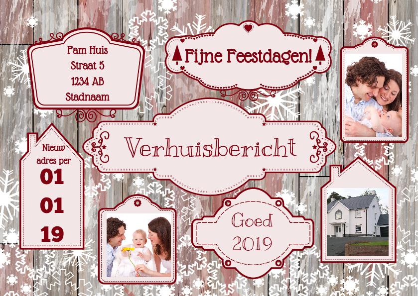 Kerstkaarten - Kerst verhuisbericht label hout