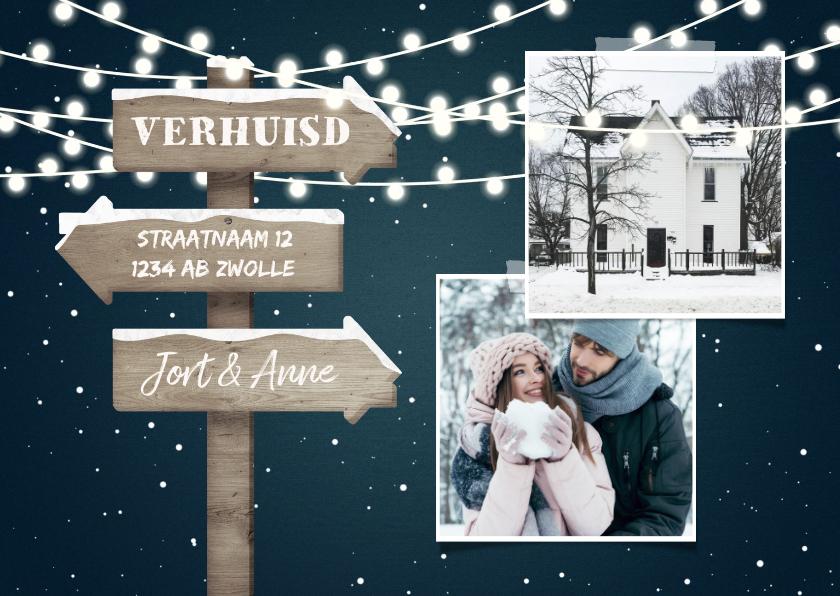 Kerstkaarten - Kerst-verhuiskaart 2 foto's met lampjes en wegwijzerbord