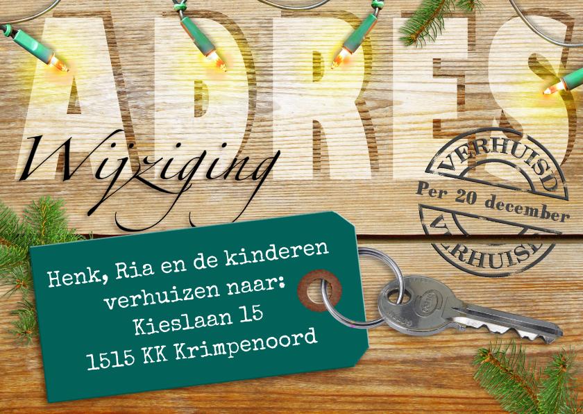 Kerstkaarten - Kerst-verhuiskaart adreswijziging sleutel met label