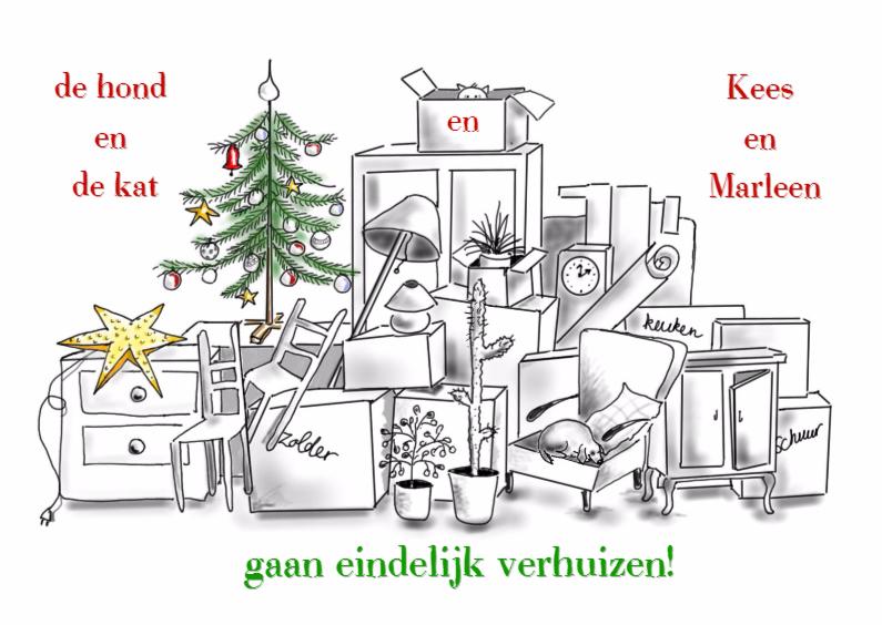 Kerstkaarten - Kerst verhuiskaart hond en kat