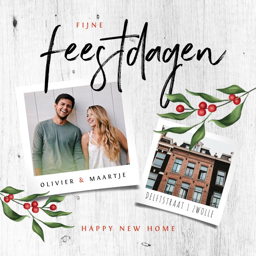 Kerstkaarten - Kerst verhuiskaart houtlook met foto's en kersttakje