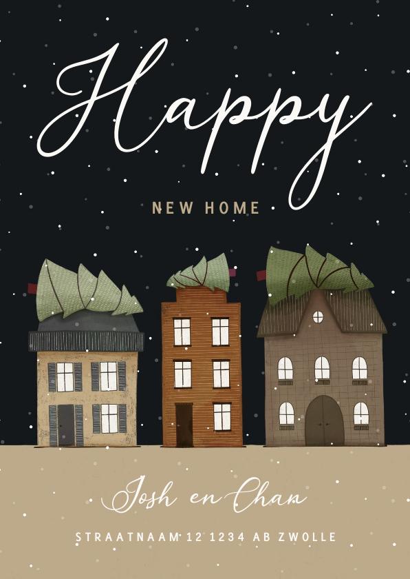 Kerstkaarten - Kerst-verhuiskaart huisjes met kerstbomen en sneeuw