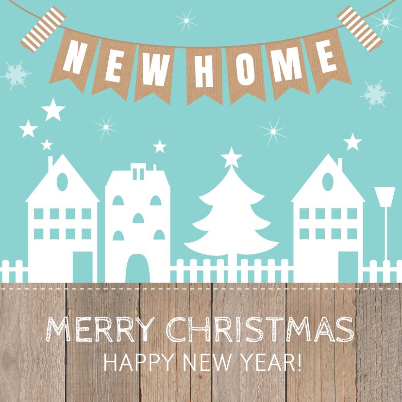 Kerstkaarten - Kerst-verhuiskaart huisjes slinger houtlook