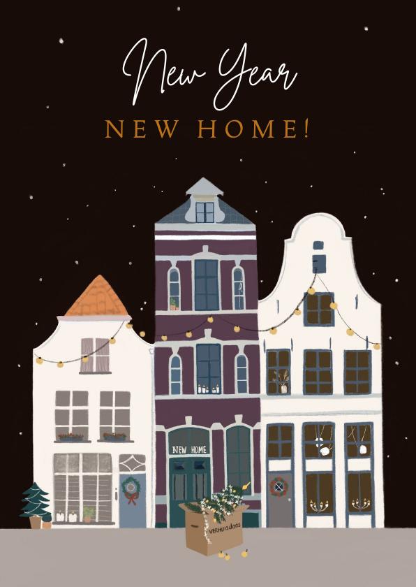 Kerstkaarten - Kerst verhuiskaart huizen in kerstsfeer
