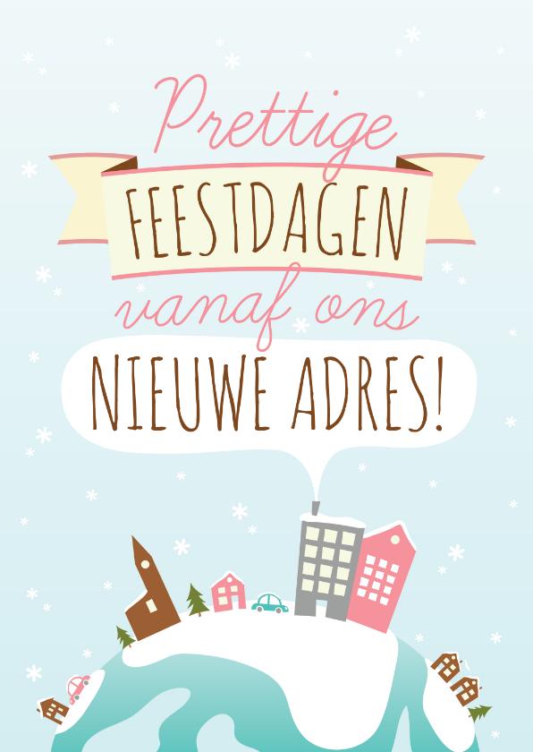 Kerstkaarten - Kerst Verhuiskaart Illustratie Huisjes