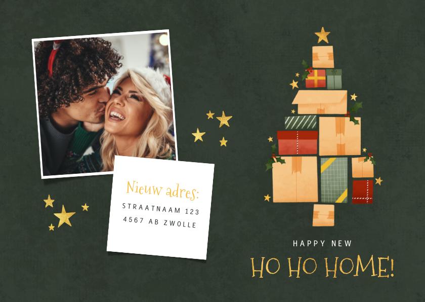Kerstkaarten - Kerst verhuiskaart kerstboom van dozen, cadeautjes en foto's