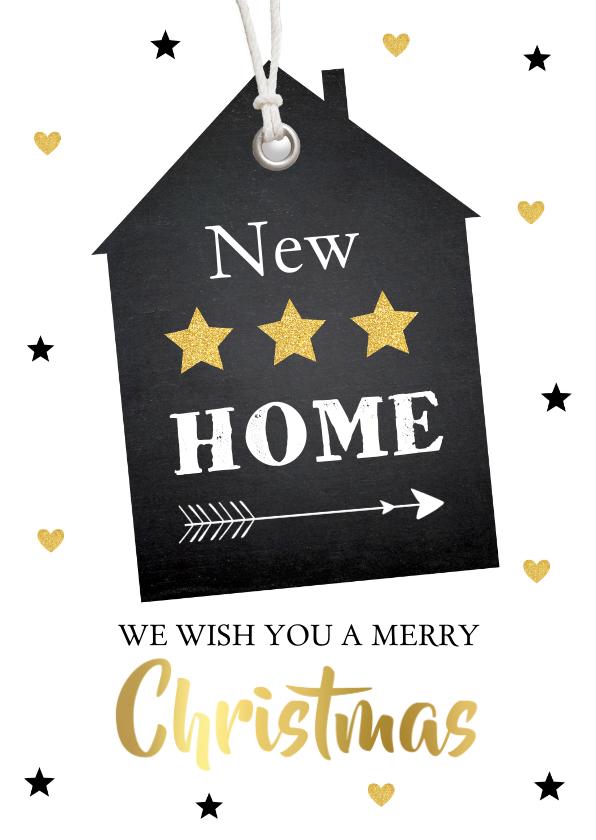 Kerstkaarten - Kerst verhuiskaart label huis - LB