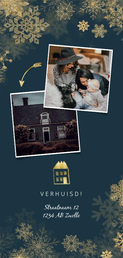 Kerstkaarten - Kerst-verhuiskaart met gouden accenten en foto's