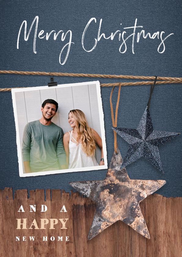 Kerstkaarten - Kerst verhuiskaart met hout, sterren en foto's
