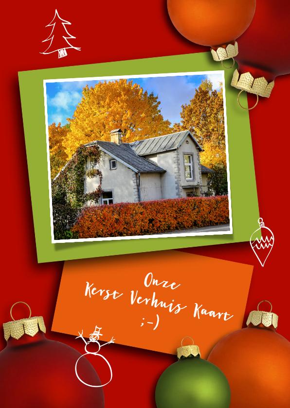 Kerstkaarten - Kerst verhuiskaart met kerstballen