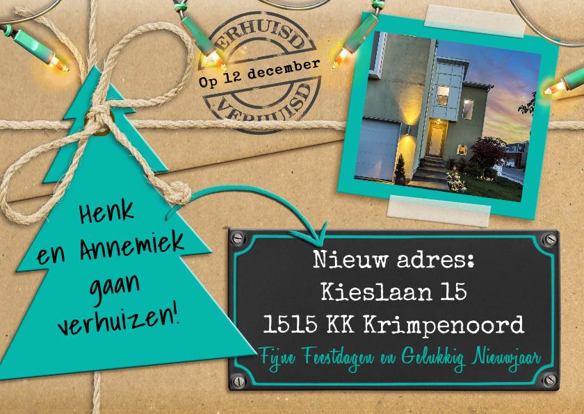 Kerstkaarten - Kerst-verhuiskaart met lampjes en eigen foto