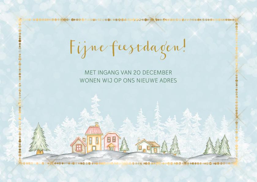 Kerstkaarten - Kerst verhuiskaart met winters dorp met sneeuw
