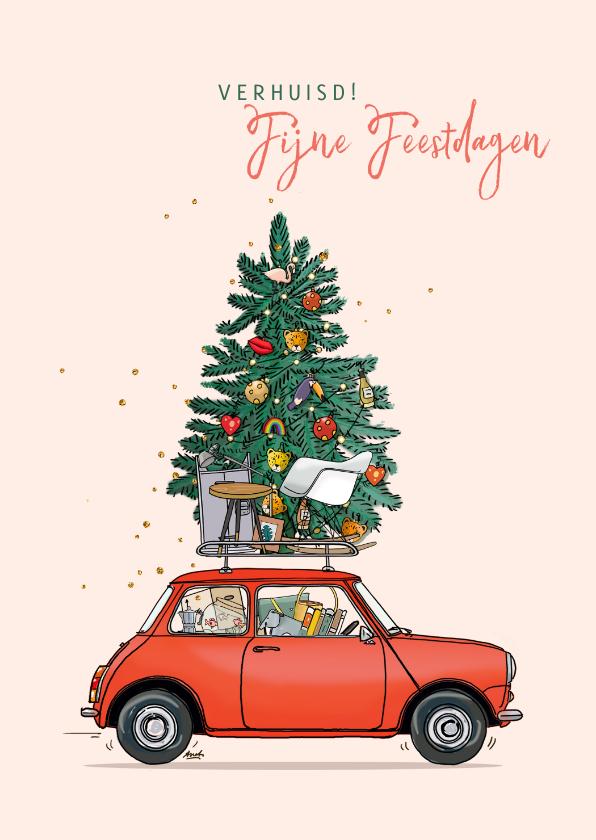 Kerstkaarten - Kerst verhuiskaart mini rood met kerstboom