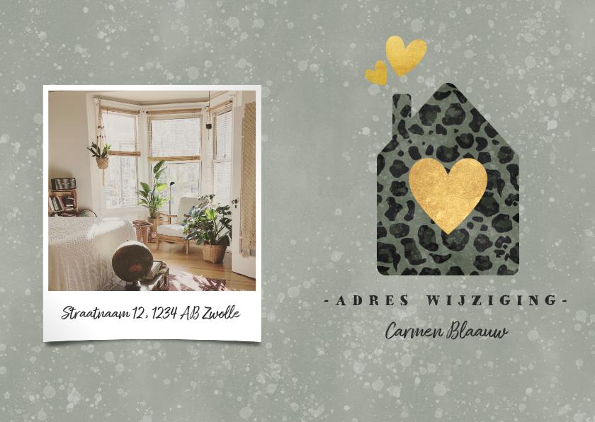 Kerstkaarten - Kerst verhuiskaart panterprint huisje, foto en spetters