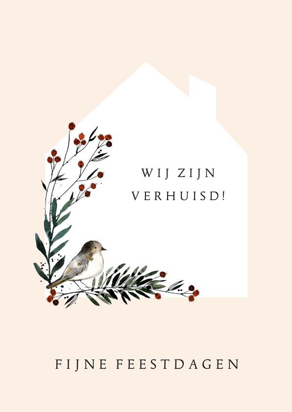 Kerstkaarten - Kerst-verhuiskaart pastel vogel