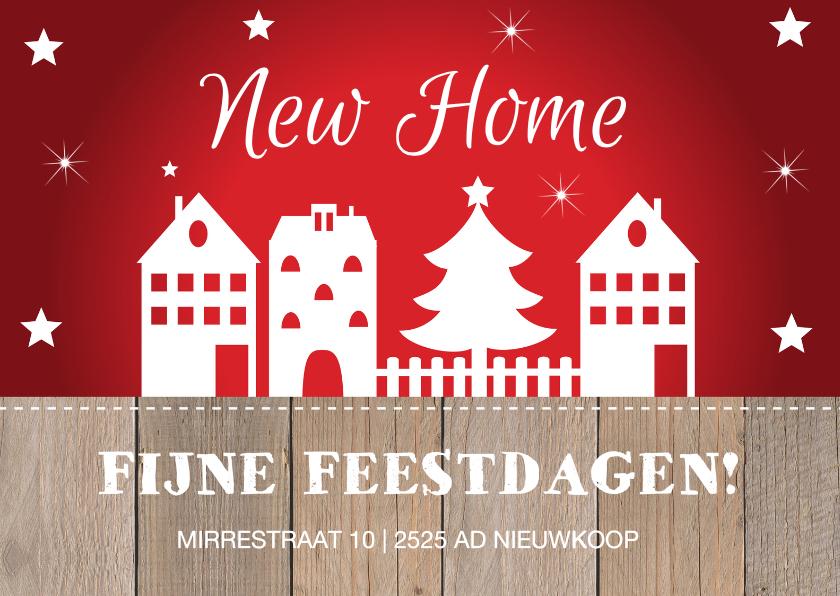 Kerstkaarten - Kerst verhuiskaart rood design huisjes