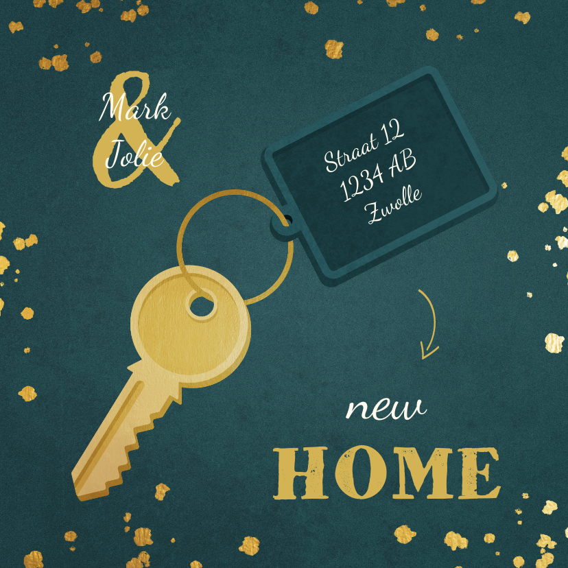 Kerstkaarten - Kerst-verhuiskaart sleutel met label new home