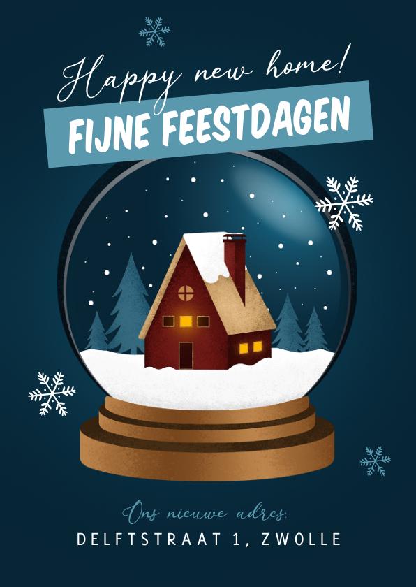 Kerstkaarten - Kerst verhuiskaart sneeuwbol huis fijne feestdagen