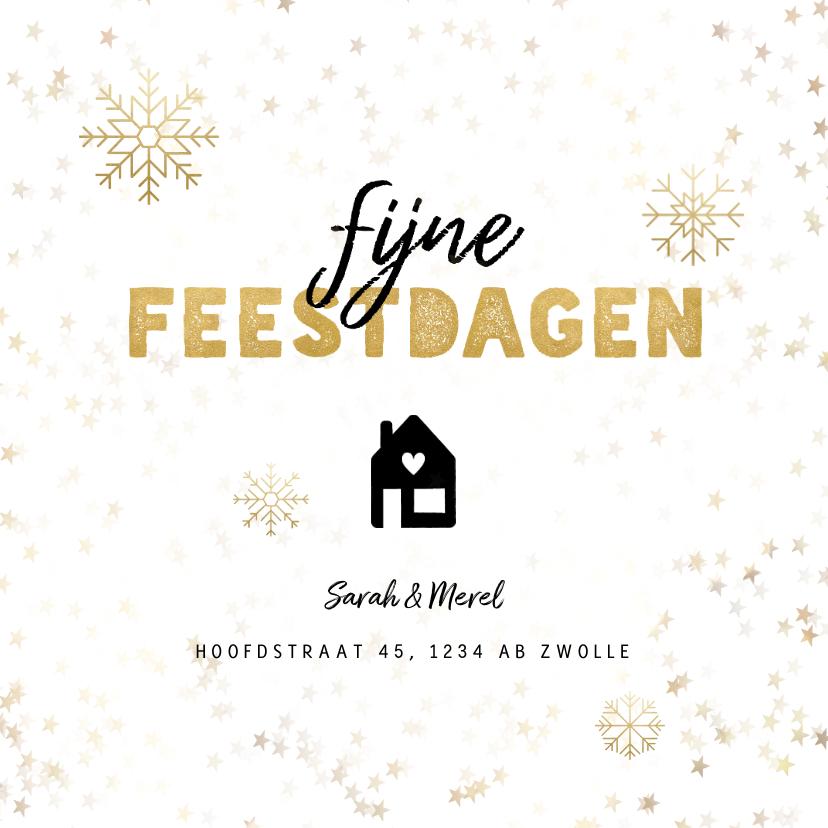 Kerstkaarten - Kerst verhuiskaart sneeuwvlokken, huisje, adres wijziging