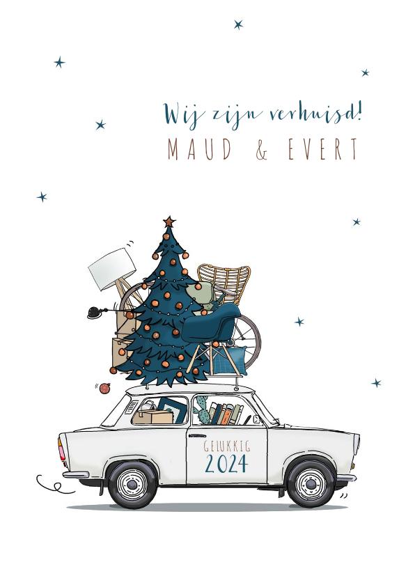 Kerstkaarten - Kerst verhuiskaart Trabant wit met blauwe kerstboom