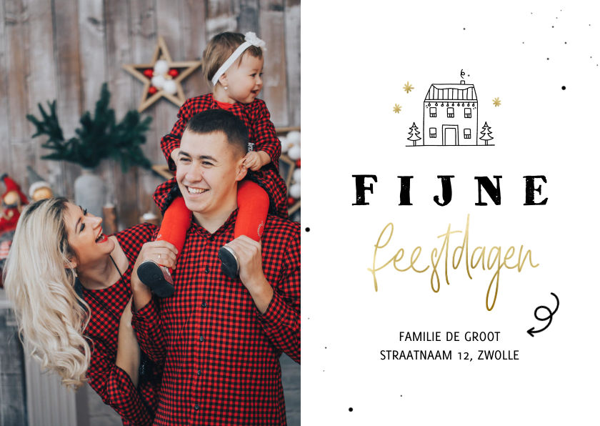 Kerstkaarten - Kerst verhuiskaartje lijntekening huisje fijne feestdagen