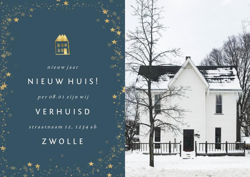 Kerstkaarten - Kerst-verhuiskaartje met foto en gouden huisje