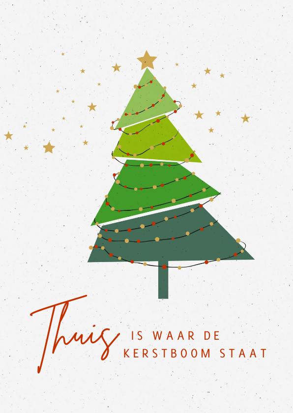 Kerstkaarten - Kerst verhuizing thuis is waar de kerstboom staat