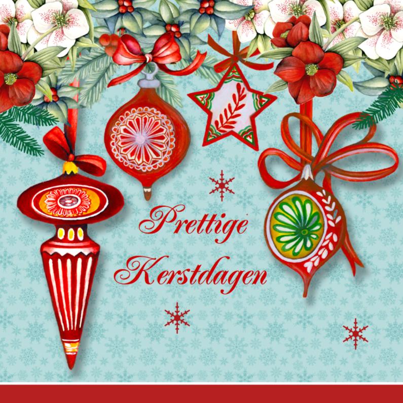 Kerstkaarten - Kerst vintage kerstballen