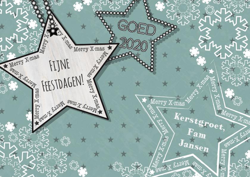 Kerstkaarten - Kerst vintage-look groen sneeuwL