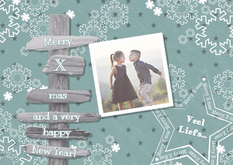 Kerstkaarten - Kerst vintage-look paal foto L