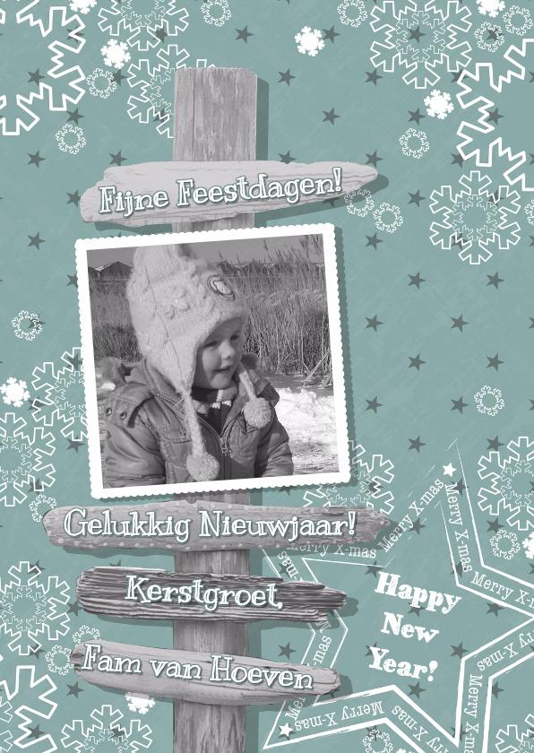 Kerstkaarten - Kerst vintagelook paal foto S-HB