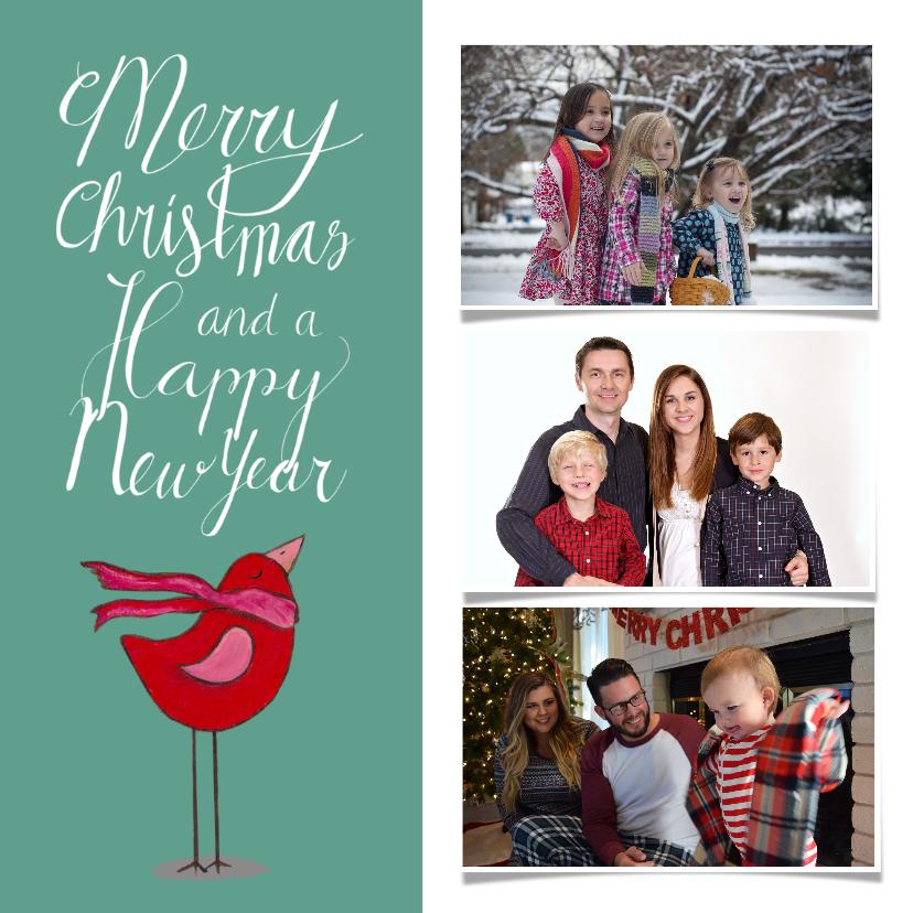 Kerstkaarten - Kerst vogel handlettering fotokaart