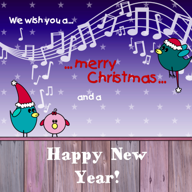 Kerstkaarten - KERST vogeltjes    We wish you a