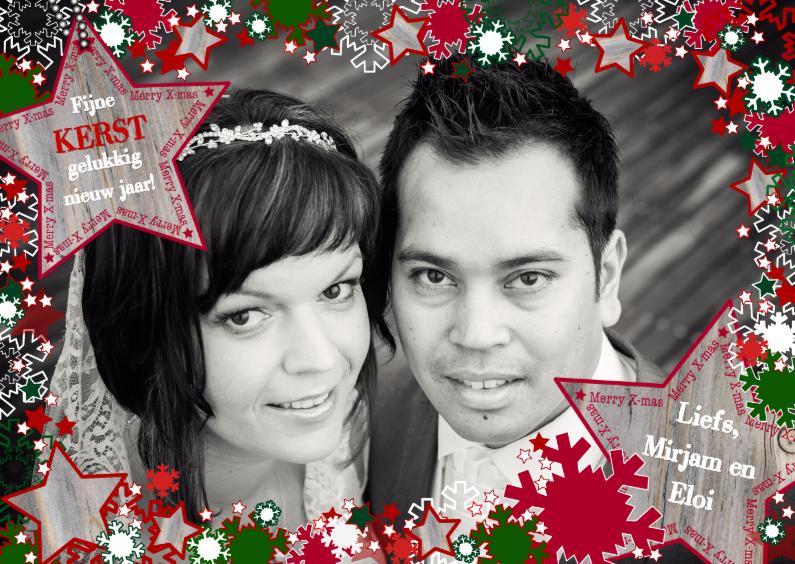 Kerstkaarten - KERST vrolijk kader ster sneeuwL