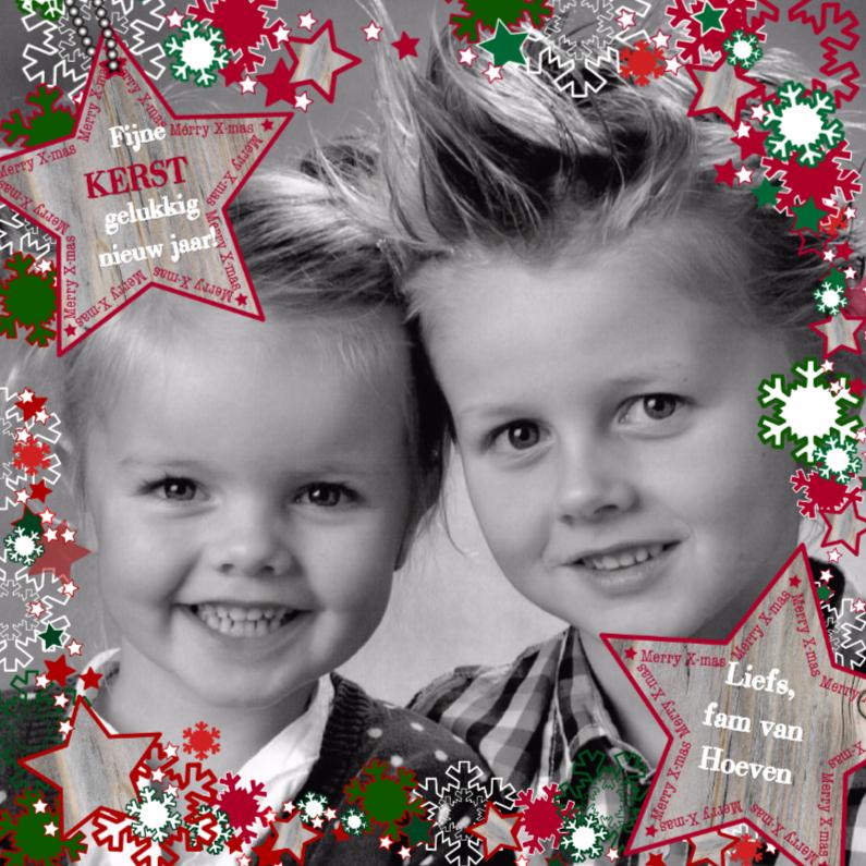 Kerstkaarten - KERST vrolijk ster sneeuwvlok Rood 4knt