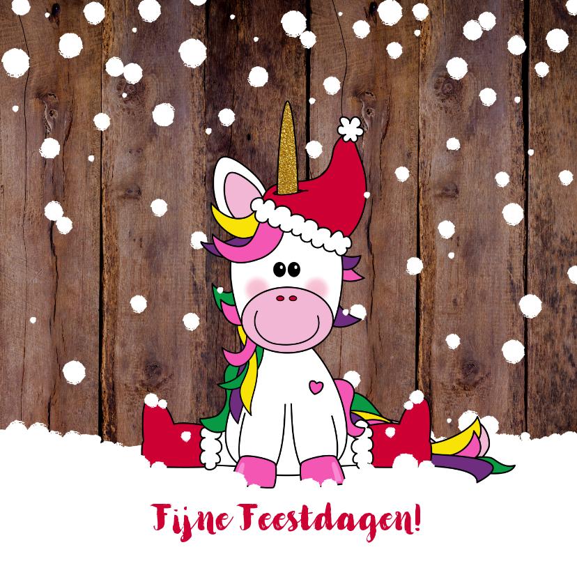 Kerstkaarten - Kerst vrolijke en winterse kaart unicorn in de sneeuw