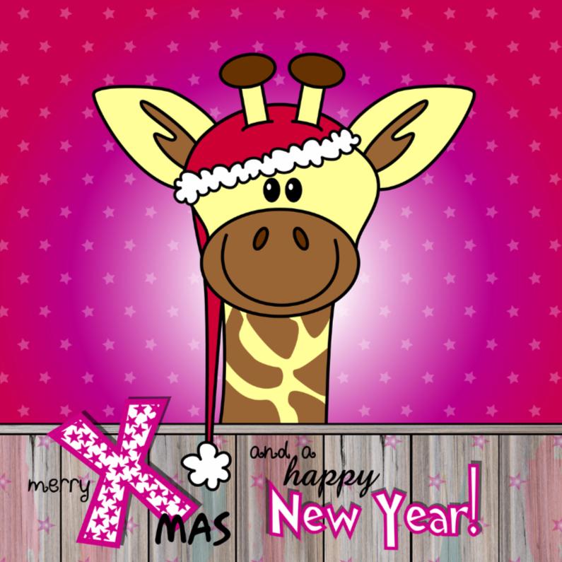 Kerstkaarten - KERST Vrolijke giraffe met kerstmuts